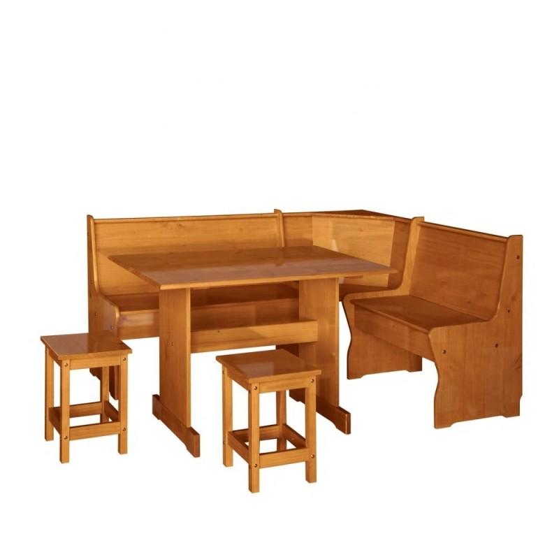 Rinconera de pino con mesa y taburetes for Mesa rinconera para cocina
